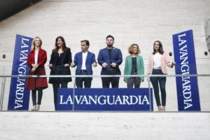 Els candidats a les eleccions generals espanyoles del 28 d'abril que van participar al debat organitzat per 'La Vanguardia' al CCCB. Foto: Bernat Vilaró / ACN.