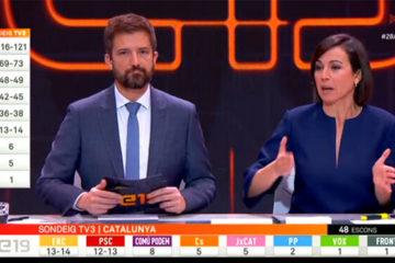 Toni Cruanyes i Lídia Heredia van presentar la nit electoral del 28-A a TV3, que va ser líder d'audiència a Catalunya. Foto: CCMA.