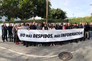 Protestes davant de la redacció de 'La Información' per l'acomiadament de set periodistes, al gener de 2020. Foto: Comitè d'Empresa La Información.