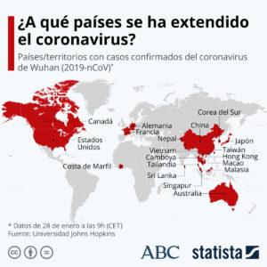 Mapa de 'països' on s'ha extès el coronavirus, publicat a l'ABC.