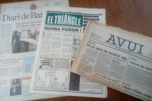 Arxiu de portades del Diari de Barcelona, El Triangle i l'Avui. Foto: Albert Balanzà