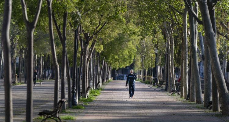Un home camina pel Parc de Can Dragó, al barri de Sant Andreu. Foto: Laura Guerrero / Ajuntament de Barcelona