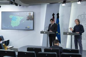 Roda de premsa del ministre de Sanitat, Salvador Illa i de Fernando Simón, director del Centre de Coordinació d'Alertes i Emergències Sanitàries. Foto: La Moncloa