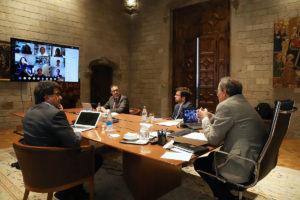 Quim Torra i Pere Aragonès, reunits amb els experts. Foto: Govern