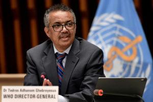 El director general de l'Organització Mundial de la Salut (OMS), Tedros Adhanom Ghebreyesus, en una roda de premsa a Ginebra, Suïssa, el 3 de juliol de 2020. Foto: Fabrice Coffrini / Reuters.
