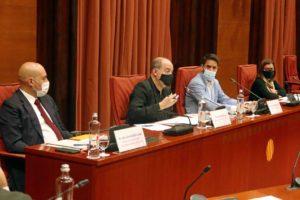 Compareixença de Gordillo, Sanchis i Llorach a la Comissió Control de la CCMA al Parlament, el 2 d'octubre del 2020. Foto: Parlament de Catalunya.