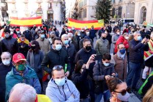Concentració de simpatitzants de Vox a la plaça Sant Jaume de Barcelona durant l'acte del dia de la Constitució espanyola. Foto: Aina Martí / ACN.