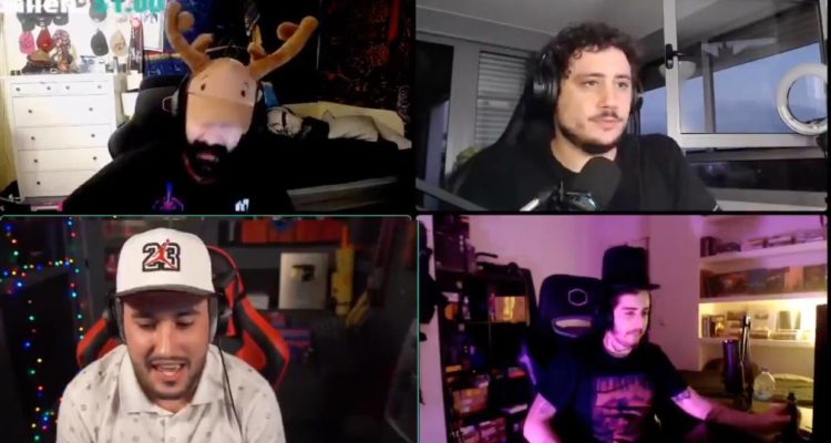 Els streamers Cheeto, Darío eme hache, Lolito i Orslok (de dalt a baix, d'esquerra a dreta) van fer bromes sobre prostitució i violència en un directe. Imatge: Youtube.