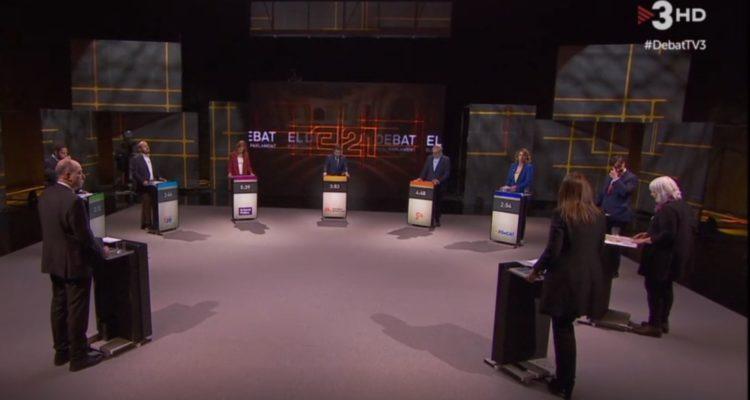 El director de TV3, Vicent Sanchis, va moderar el debat electoral a la televisió pública catalana. Imatge: CCMA.