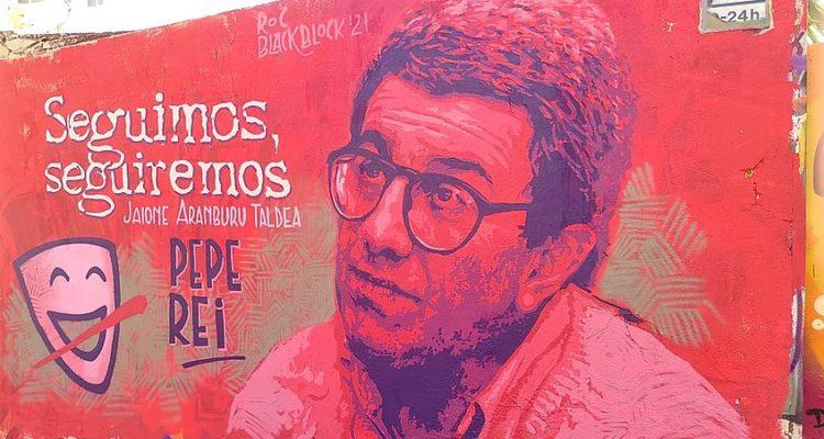 Mural d'homenatge al periodista Pepe Rei, fet el passat 13 de març al barri del Clot de Barcelona. Foto: Roc Blackblock.