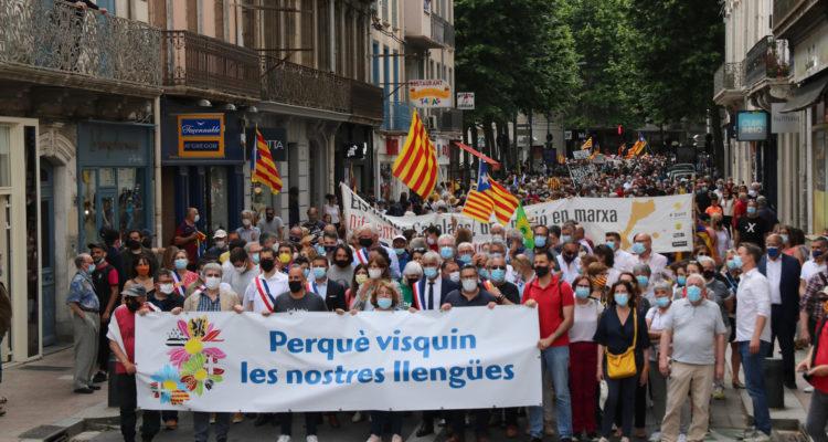 Manifestació que ha transcorregut pel centre de Perpinyà aquest dissabte 29 de maig de 2021. Foto: Gerard Vilà / ACN.