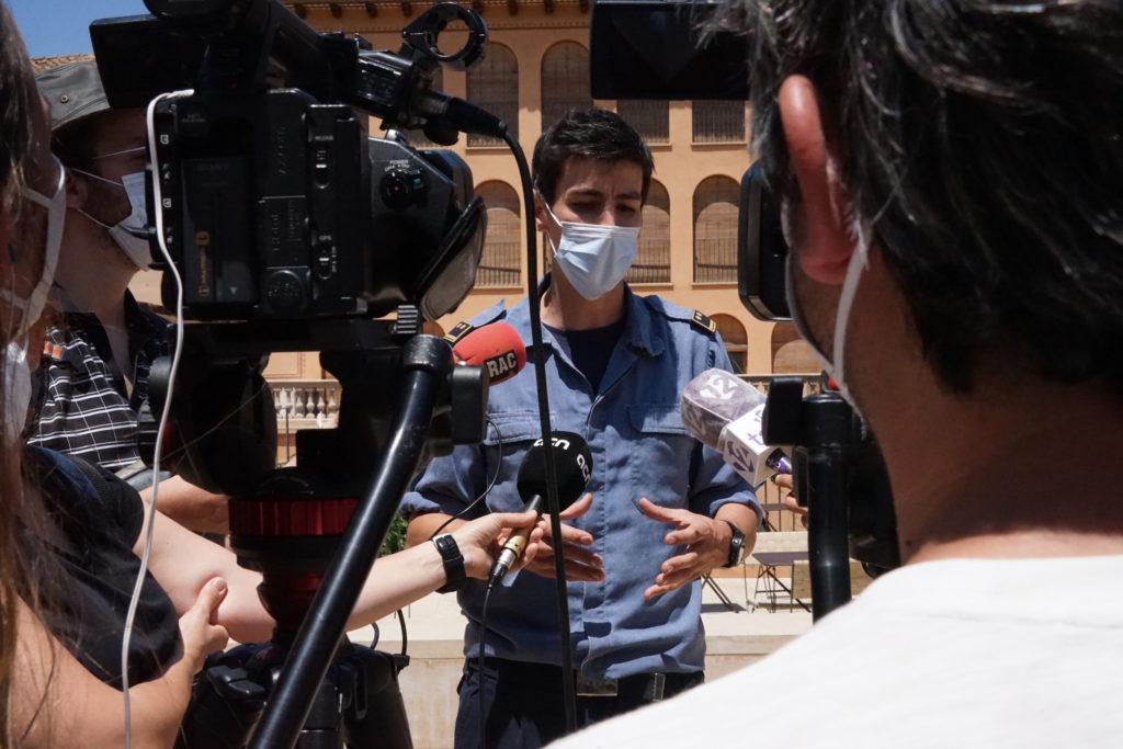 Jordi Castellví, sotsinspector dels GRAF dels Bombers a Tarragona, a la jornada de dijous. Foto: Museu de la Vida Rural.