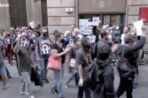 Captura de pantalla de Betevé de la cobertura de la jornada de vaga de la plantilla