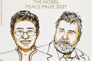 Il·lustració dels periodistes reconeguts amb el Premi Nobel de la Pau 2021