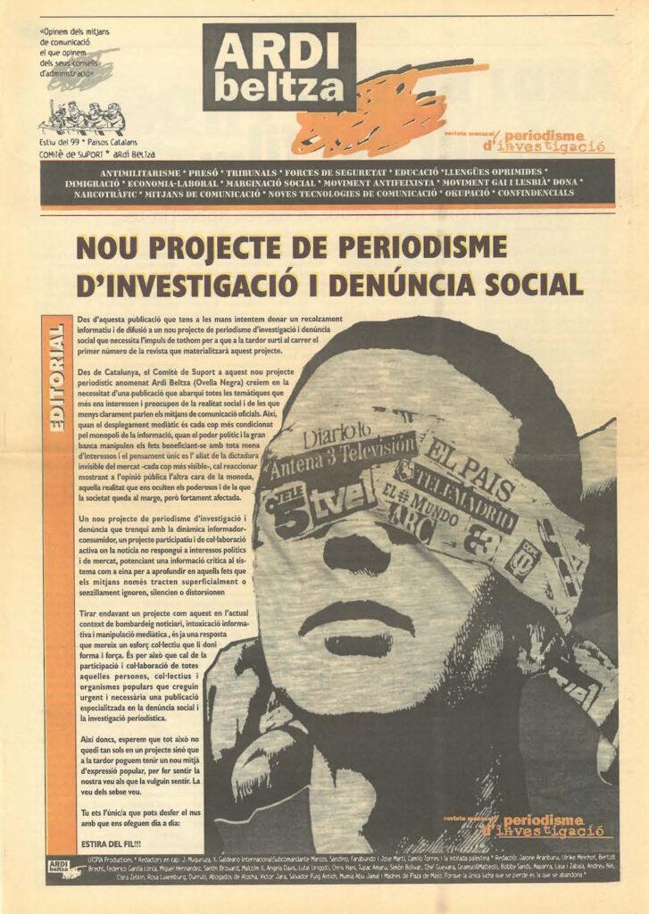 Publicació de suport des dels Països Catalans a 'Ardi Beltza', 1999. Foto: Directa / Arxiu.